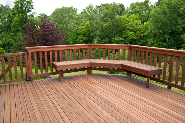 Wooden deck with bench seats