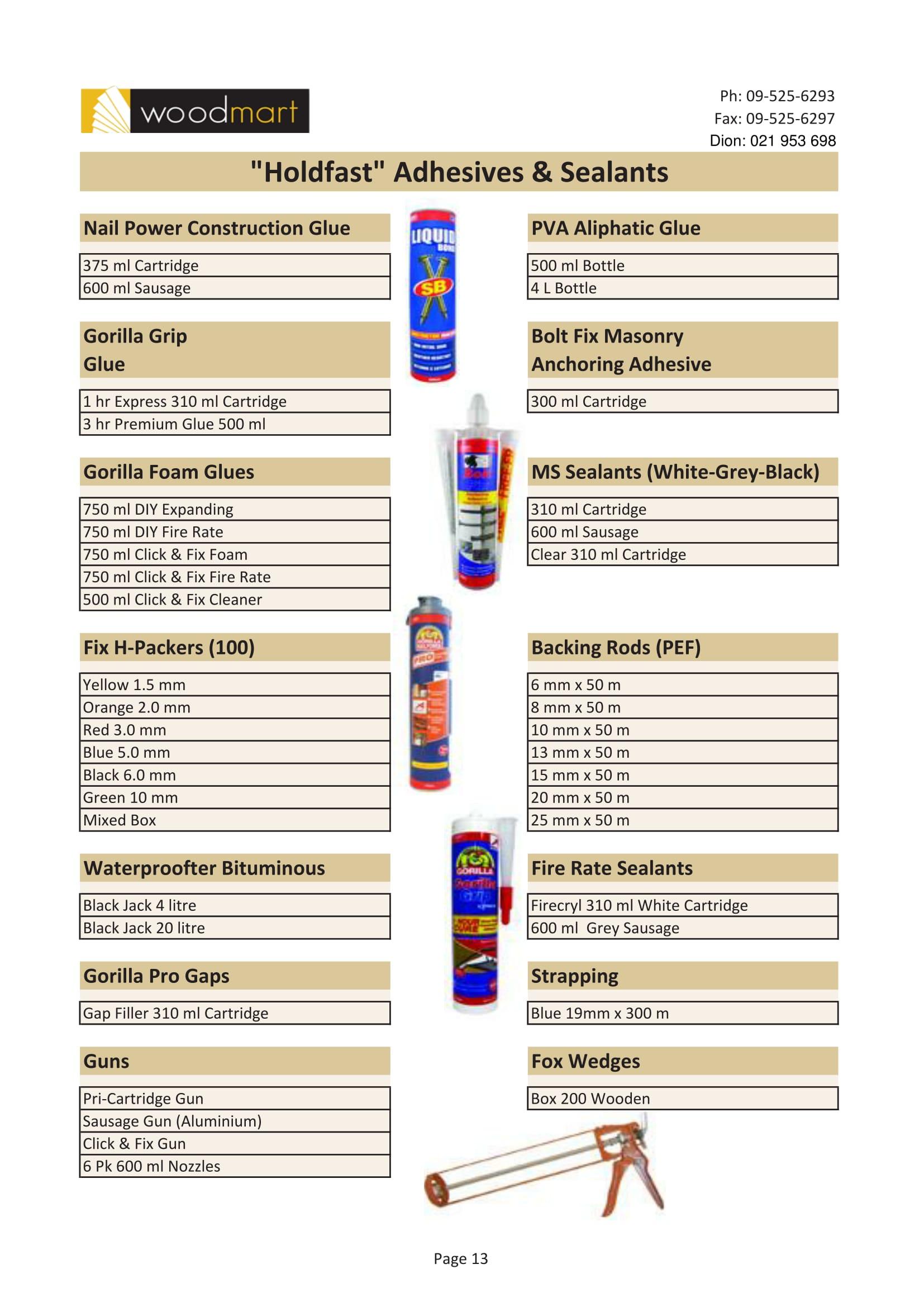 Holdfast Adhesives & Sealants