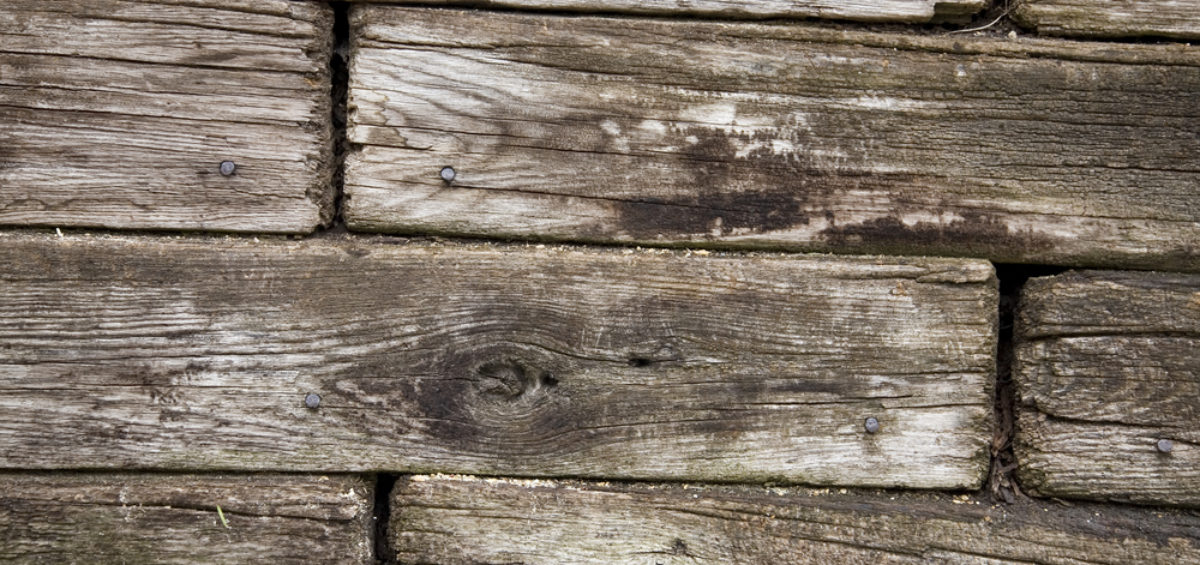 Close up of timber retaining wall